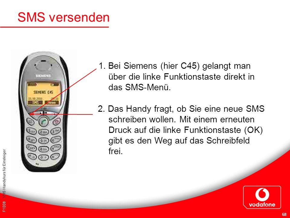 F1008 VHS Handykurs für Einsteiger 68 1. Bei Siemens (hier C45) gelangt man über die linke Funktionstaste direkt in das SMS-Menü. 2. Das Handy fragt,