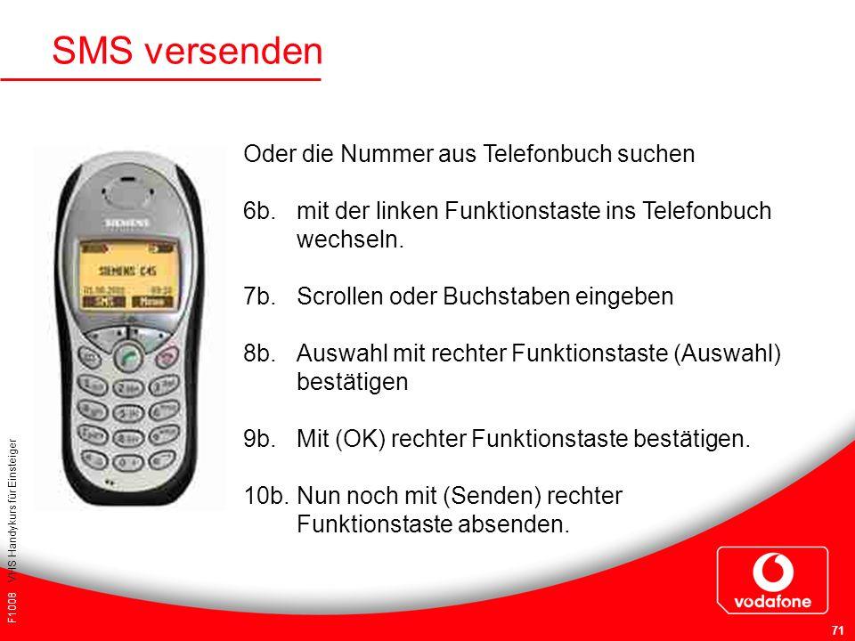 F1008 VHS Handykurs für Einsteiger 71 Oder die Nummer aus Telefonbuch suchen 6b. mit der linken Funktionstaste ins Telefonbuch wechseln. 7b. Scrollen