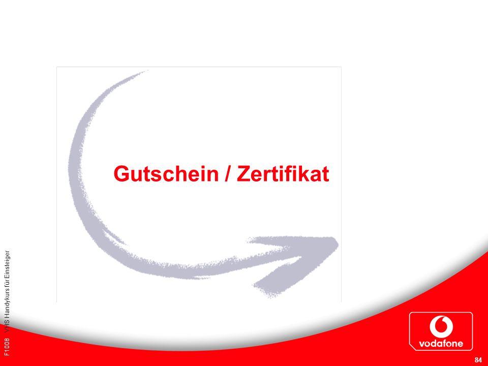 F1008 VHS Handykurs für Einsteiger 84 Gutschein / Zertifikat