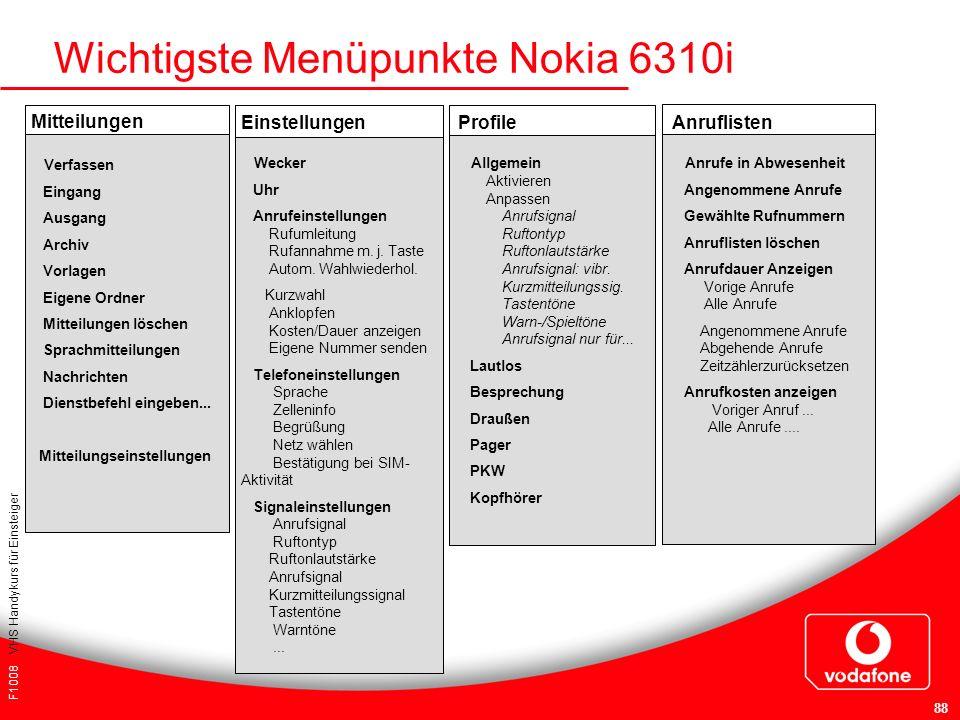 F1008 VHS Handykurs für Einsteiger 88 Wichtigste Menüpunkte Nokia 6310i Mitteilungen Verfassen Eingang Ausgang Archiv Vorlagen Eigene Ordner Mitteilun