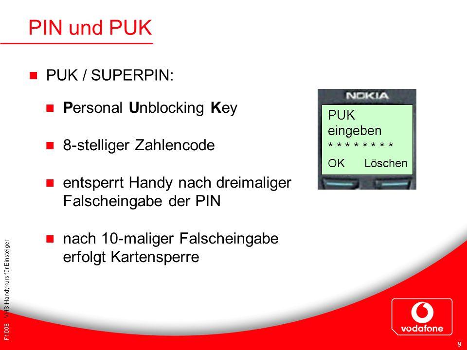 F1008 VHS Handykurs für Einsteiger 9 PIN und PUK PUK / SUPERPIN: Personal Unblocking Key 8-stelliger Zahlencode entsperrt Handy nach dreimaliger Falsc