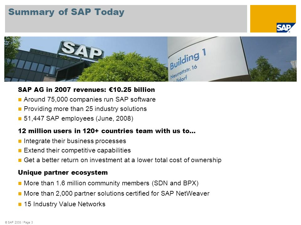 Summary of SAP Today © SAP 2008 / Page 3 SAP AG in 2007 revenues: billion Around 75,000 companies run SAP software Providing more than 25 industry solutions 51,447 SAP employees (June, 2008) 12 million users in 120+ countries team with us to… Integrate their business processes Extend their competitive capabilities Get a better return on investment at a lower total cost of ownership Unique partner ecosystem More than 1.6 million community members (SDN and BPX) More than 2,000 partner solutions certified for SAP NetWeaver 15 Industry Value Networks