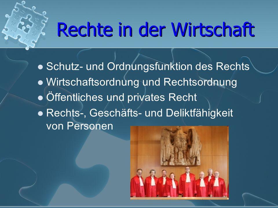Schutz- und Ordnungsfunktion des Rechts Wirtschaftsordnung und Rechtsordnung Öffentliches und privates Recht Rechts-, Geschäfts- und Deliktfähigkeit v