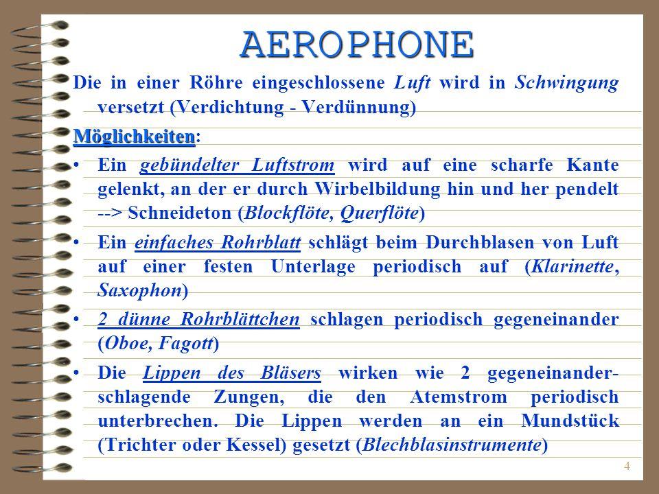 4 AEROPHONE Die in einer Röhre eingeschlossene Luft wird in Schwingung versetzt (Verdichtung - Verdünnung) Möglichkeiten Möglichkeiten: Ein gebündelte