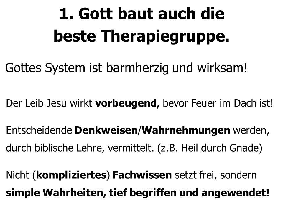 1. Gott baut auch die beste Therapiegruppe. Gottes System ist barmherzig und wirksam! Der Leib Jesu wirkt vorbeugend, bevor Feuer im Dach ist! Entsche