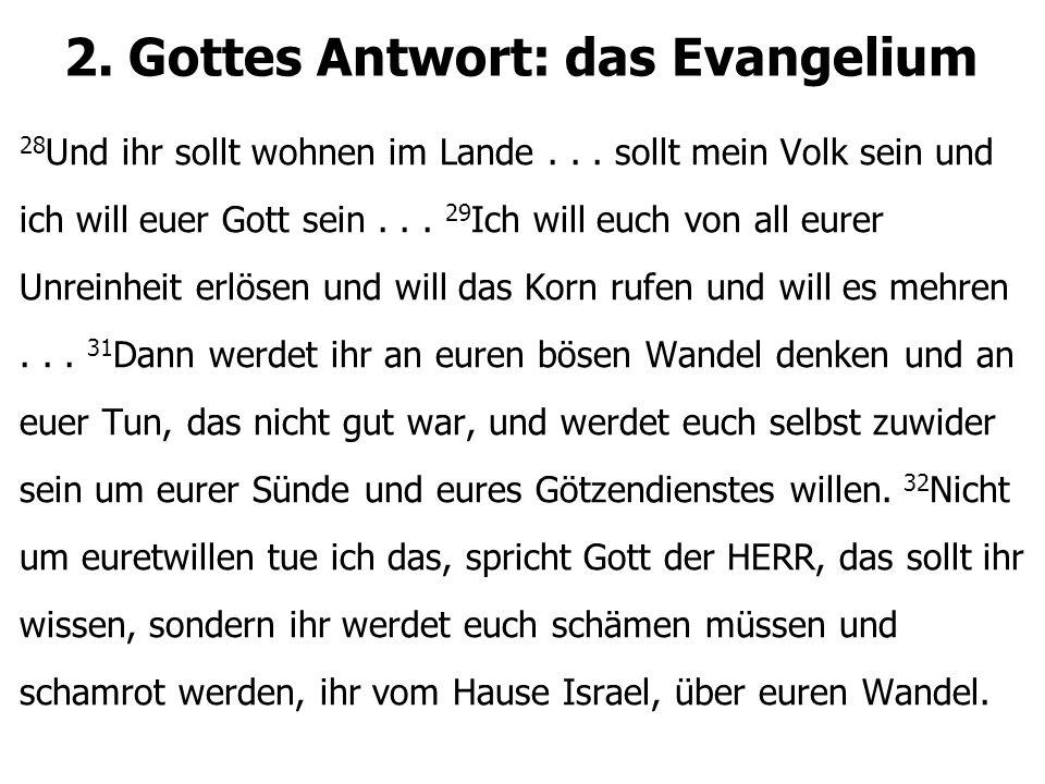 2. Gottes Antwort: das Evangelium 28 Und ihr sollt wohnen im Lande... sollt mein Volk sein und ich will euer Gott sein... 29 Ich will euch von all eur