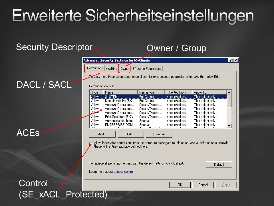 Security Descriptor Owner / Group ACEs DACL / SACL Control (SE_xACL_Protected)
