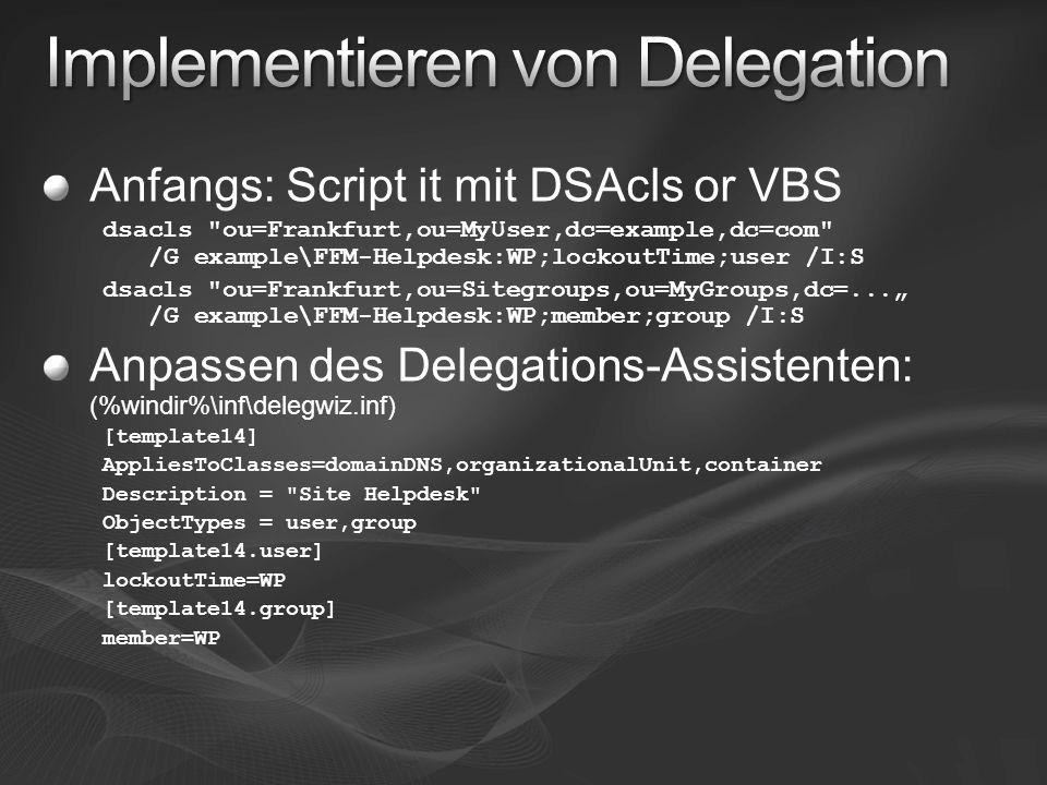 Anfangs: Script it mit DSAcls or VBS dsacls
