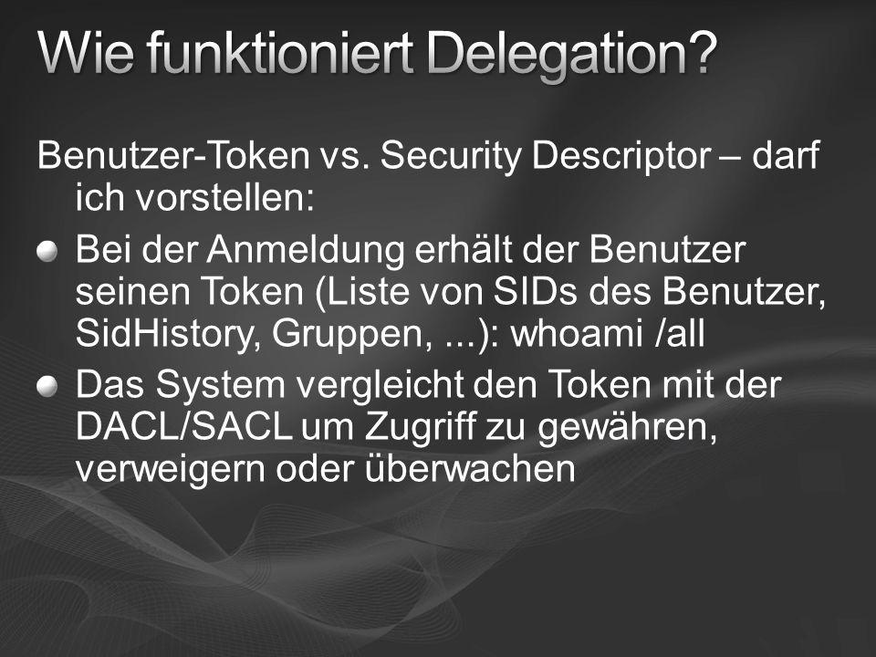 Benutzer-Token vs. Security Descriptor – darf ich vorstellen: Bei der Anmeldung erhält der Benutzer seinen Token (Liste von SIDs des Benutzer, SidHist