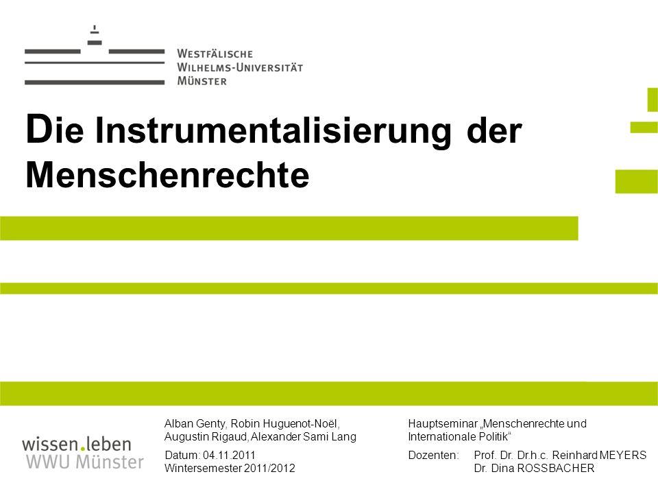 2.3 Menschenrechte in den IB: Idealismus und Realismus (2) Klassischer Realismus Handlungsziel: Sicherung und Durchsetzung von Nationalinteresse und Machterhalt.