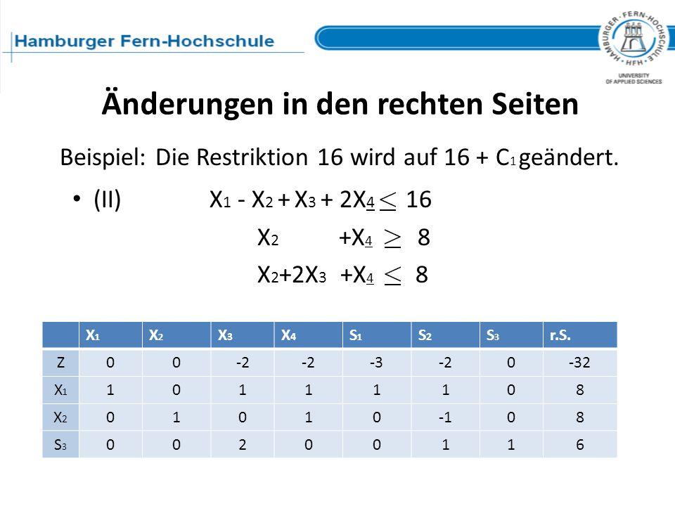 (II) X 1 - X 2 + X 3 + 2X 4 16 X 2 +X 4 8 X 2 +2X 3 +X 4 8 Änderungen in den rechten Seiten Beispiel: Die Restriktion 16 wird auf 16 + C 1 geändert. X