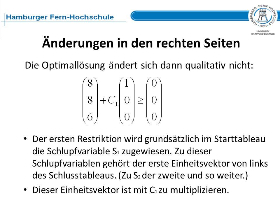 Der ersten Restriktion wird grundsätzlich im Starttableau die Schlupfvariable S 1 zugewiesen. Zu dieser Schlupfvariablen gehört der erste Einheitsvekt