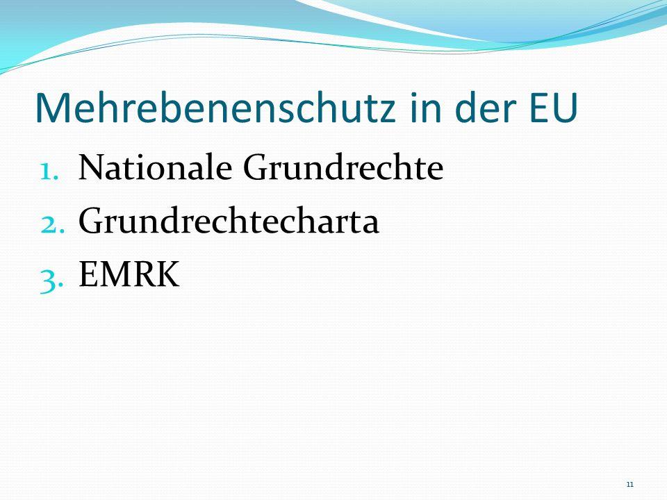 Mehrebenenschutz in der EU 1. Nationale Grundrechte 2. Grundrechtecharta 3. EMRK 11