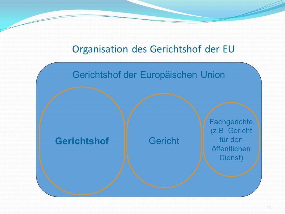 Organisation des Gerichtshof der EU Gerichtshof der Europäischen Union Gerichtshof 13 Gericht Fachgerichte (z.B. Gericht für den öffentlichen Dienst)