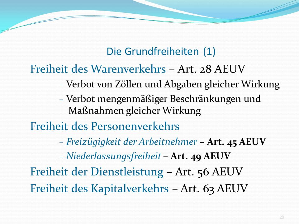 Die Grundfreiheiten (1) Freiheit des Warenverkehrs – Art. 28 AEUV – Verbot von Zöllen und Abgaben gleicher Wirkung – Verbot mengenmäßiger Beschränkung