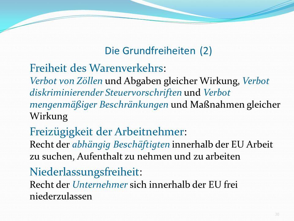 Die Grundfreiheiten (2) Freiheit des Warenverkehrs: Verbot von Zöllen und Abgaben gleicher Wirkung, Verbot diskriminierender Steuervorschriften und Verbot mengenmäßiger Beschränkungen und Maßnahmen gleicher Wirkung Freizügigkeit der Arbeitnehmer: Recht der abhängig Beschäftigten innerhalb der EU Arbeit zu suchen, Aufenthalt zu nehmen und zu arbeiten Niederlassungsfreiheit: Recht der Unternehmer sich innerhalb der EU frei niederzulassen 30