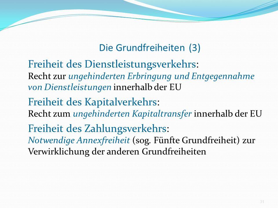 Die Grundfreiheiten (3) Freiheit des Dienstleistungsverkehrs: Recht zur ungehinderten Erbringung und Entgegennahme von Dienstleistungen innerhalb der