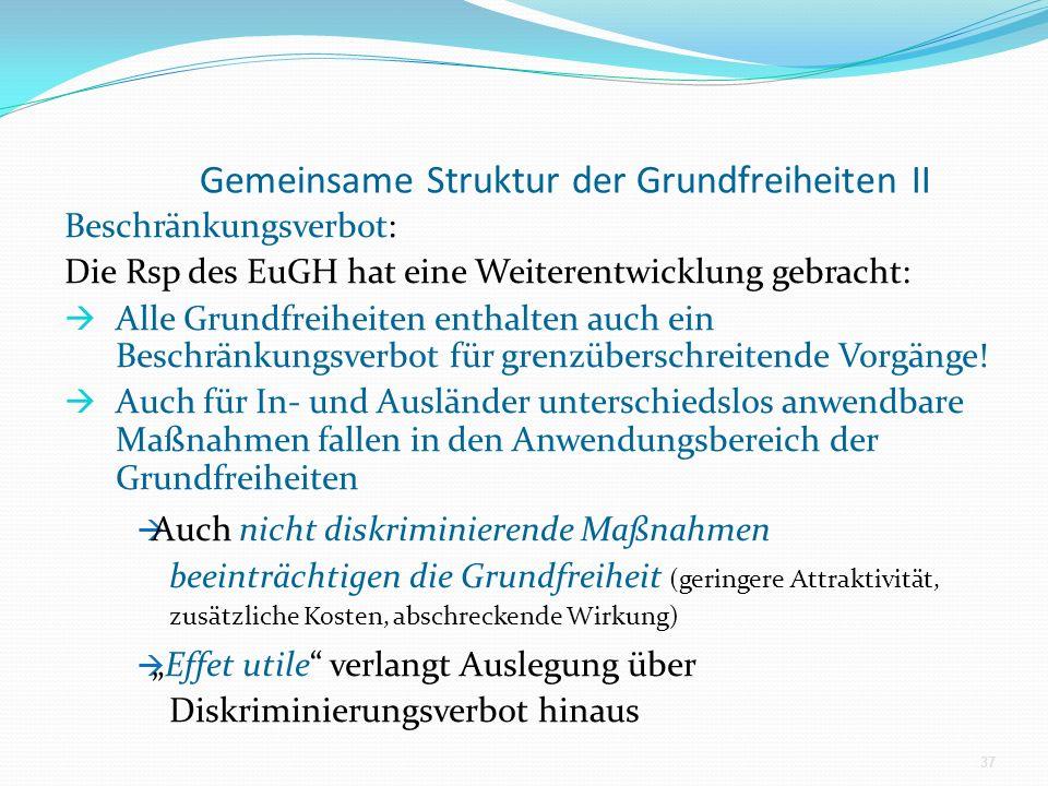 Gemeinsame Struktur der Grundfreiheiten II Beschränkungsverbot: Die Rsp des EuGH hat eine Weiterentwicklung gebracht: Alle Grundfreiheiten enthalten a