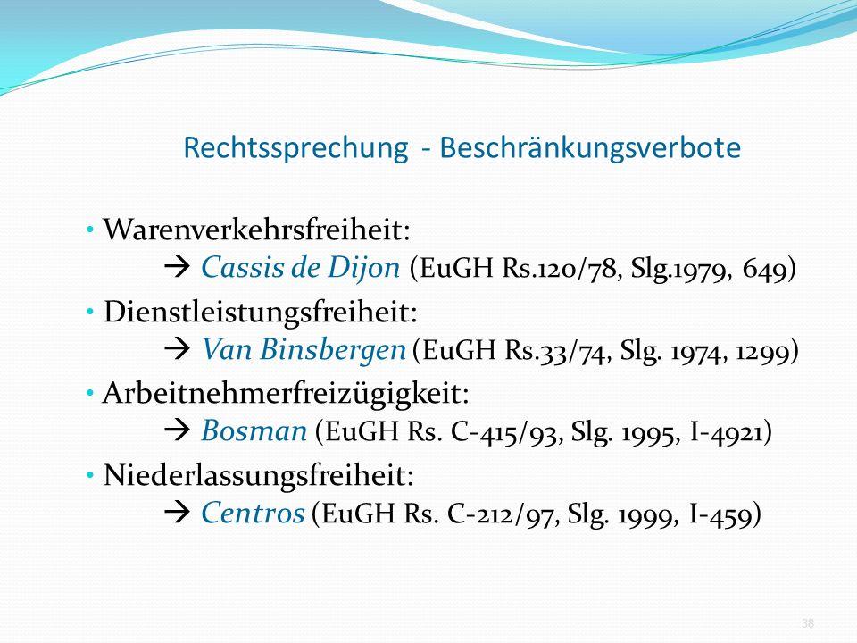 Rechtssprechung - Beschränkungsverbote Warenverkehrsfreiheit: Cassis de Dijon (EuGH Rs.120/78, Slg.1979, 649) Dienstleistungsfreiheit: Van Binsbergen (EuGH Rs.33/74, Slg.