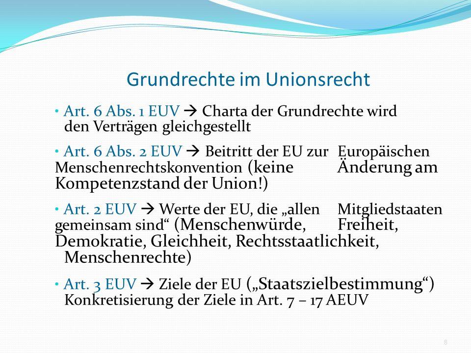 Grundrechte im Unionsrecht Art. 6 Abs. 1 EUV Charta der Grundrechte wird den Verträgen gleichgestellt Art. 6 Abs. 2 EUV Beitritt der EU zur Europäisch