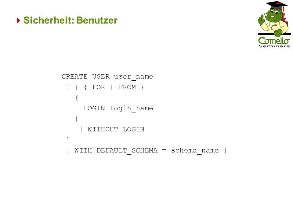 Sicherheit: Benutzer CREATE USER user_name [ { { FOR | FROM } { LOGIN login_name } | WITHOUT LOGIN ] [ WITH DEFAULT_SCHEMA = schema_name ]