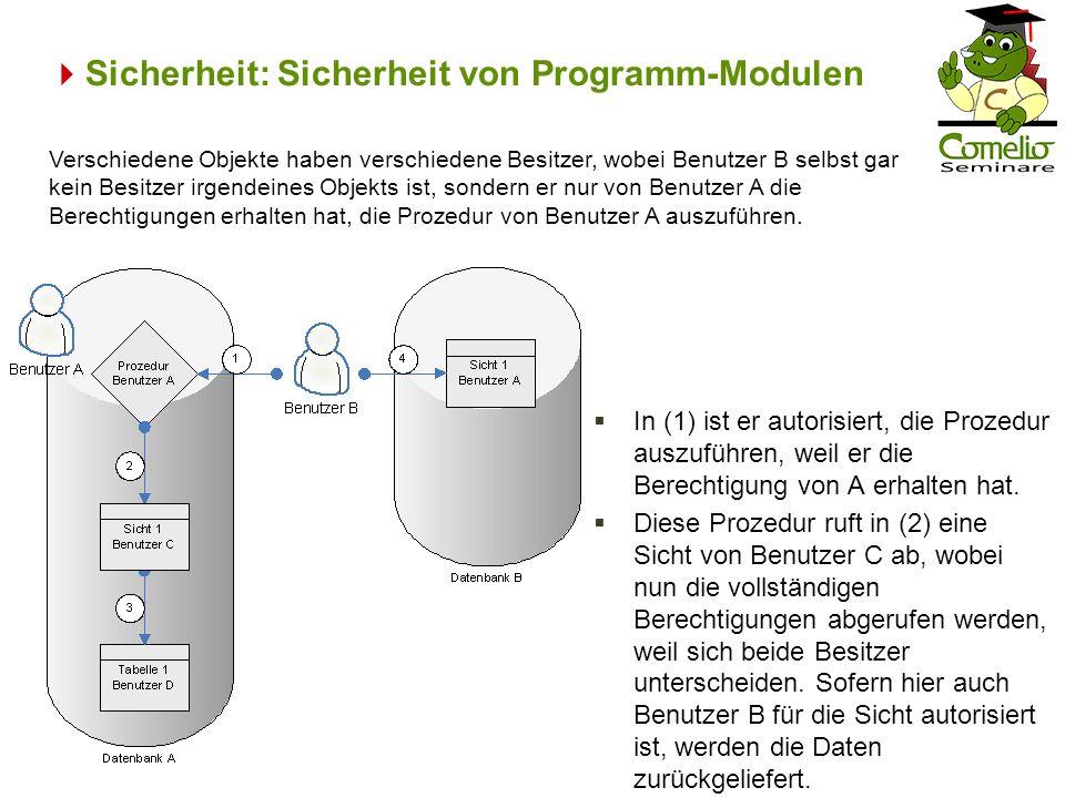 Sicherheit: Sicherheit von Programm-Modulen In (1) ist er autorisiert, die Prozedur auszuführen, weil er die Berechtigung von A erhalten hat. Diese Pr