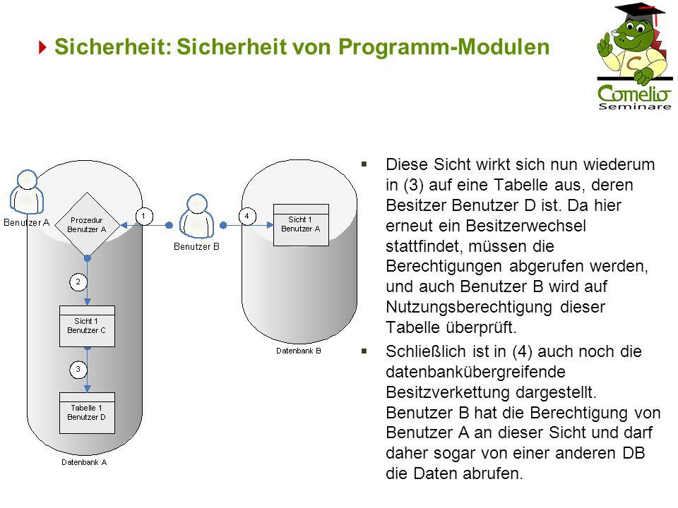 Sicherheit: Sicherheit von Programm-Modulen Diese Sicht wirkt sich nun wiederum in (3) auf eine Tabelle aus, deren Besitzer Benutzer D ist.