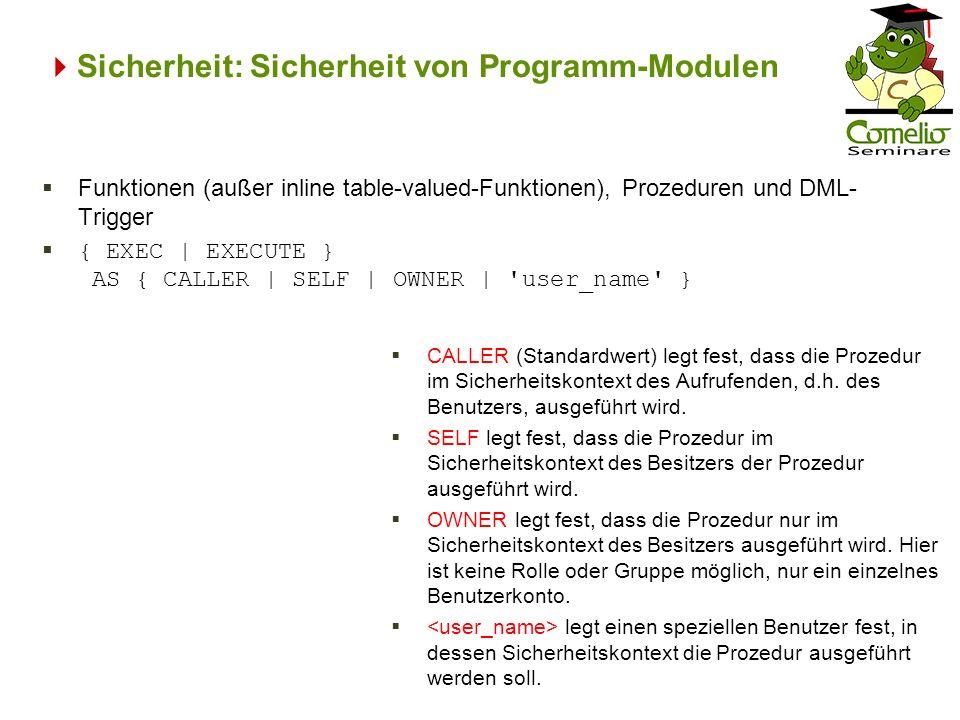 Sicherheit: Sicherheit von Programm-Modulen CALLER (Standardwert) legt fest, dass die Prozedur im Sicherheitskontext des Aufrufenden, d.h. des Benutze