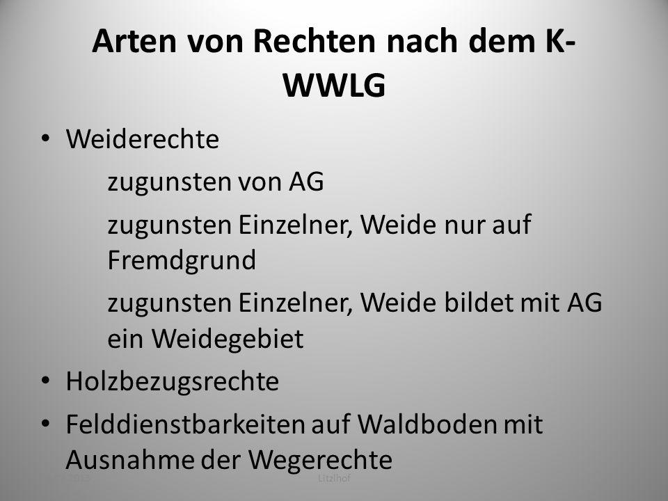 Mögliche Verfahren nach dem K-WWLG Die Rechte bleiben bestehen – Neuregulierung (Wald-Weide-Trennung) Die Rechte enden –Ablösung – In Grund – In Geld Sicherung bestehender Rechtsverhältnisse Genehmigungsverfahren 23.02.2013Litzlhof