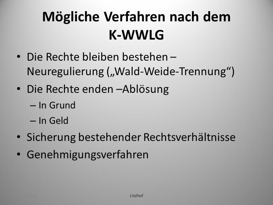 Mögliche Verfahren nach dem K-WWLG Die Rechte bleiben bestehen – Neuregulierung (Wald-Weide-Trennung) Die Rechte enden –Ablösung – In Grund – In Geld