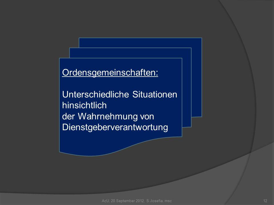 AcU, 20.September 2012, S.Josefia, msc12 Ordensgemeinschaften: Unterschiedliche Situationen hinsichtlich der Wahrnehmung von Dienstgeberverantwortung