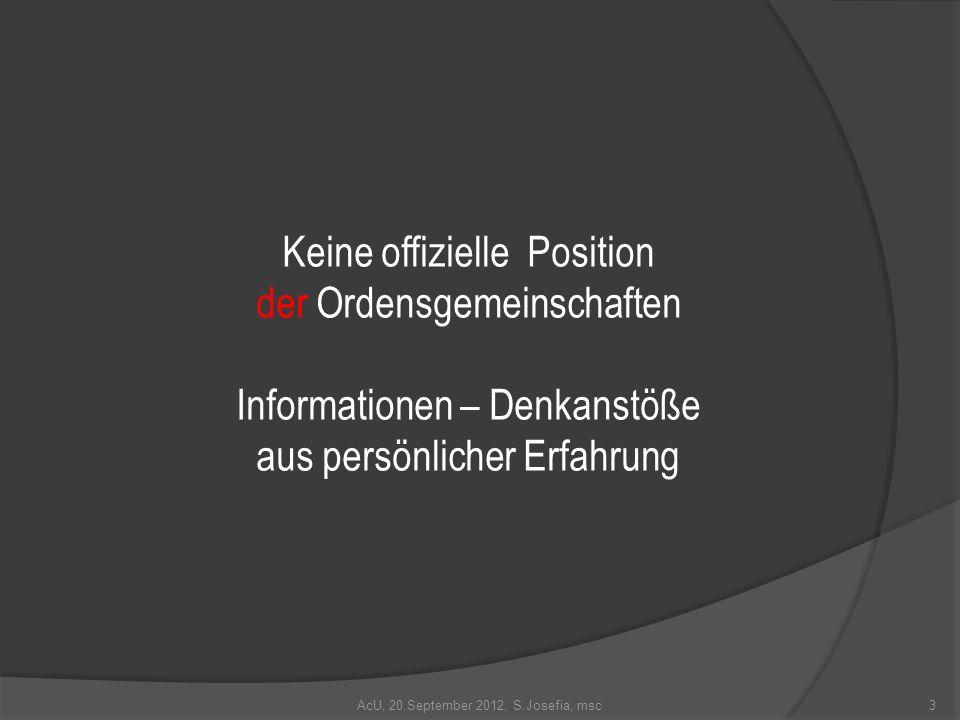 Keine offizielle Position der Ordensgemeinschaften Informationen – Denkanstöße aus persönlicher Erfahrung 3