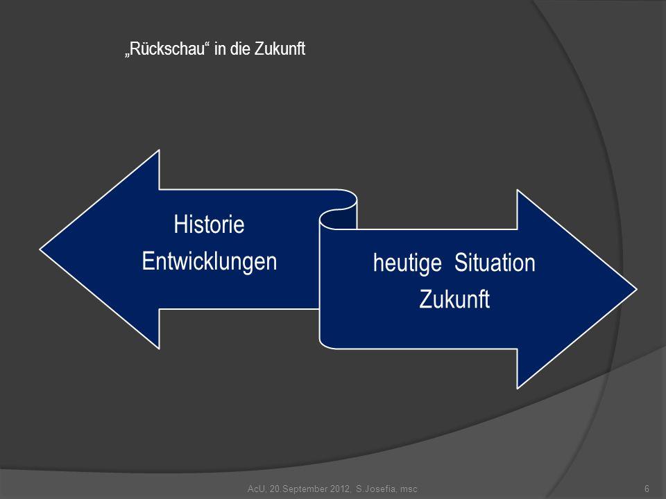 AcU, 20.September 2012, S.Josefia, msc Historie Entwicklungen heutige Situation Zukunft 6 Rückschau in die Zukunft