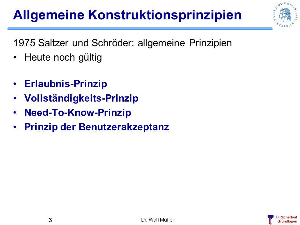 IT-Sicherheit Grundlagen Dr. Wolf Müller 3 Allgemeine Konstruktionsprinzipien 1975 Saltzer und Schröder: allgemeine Prinzipien Heute noch gültig Erlau