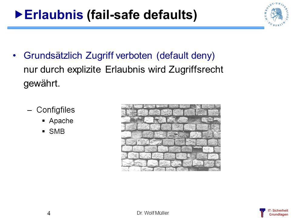 IT-Sicherheit Grundlagen Dr. Wolf Müller 4 Erlaubnis (fail-safe defaults) Grundsätzlich Zugriff verboten (default deny) nur durch explizite Erlaubnis