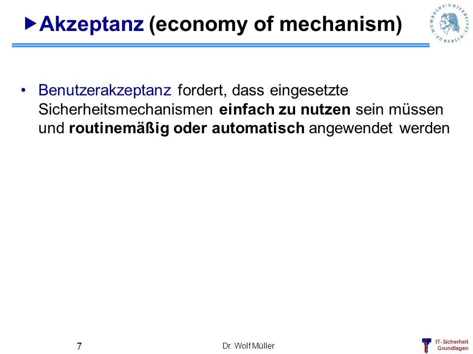 IT-Sicherheit Grundlagen Dr. Wolf Müller 7 Akzeptanz (economy of mechanism) Benutzerakzeptanz fordert, dass eingesetzte Sicherheitsmechanismen einfach