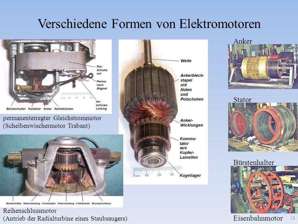 Verschiedene Formen von Elektromotoren Reihenschlussmotor (Antrieb der Radialturbine eines Staubsaugers) permanenterregter Gleichstrommotor (Scheibenw