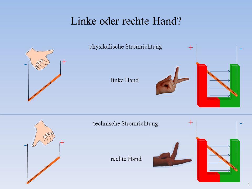 Linke oder rechte Hand? + - + - + - physikalische Stromrichtung technische Stromrichtung linke Hand rechte Hand + - 6