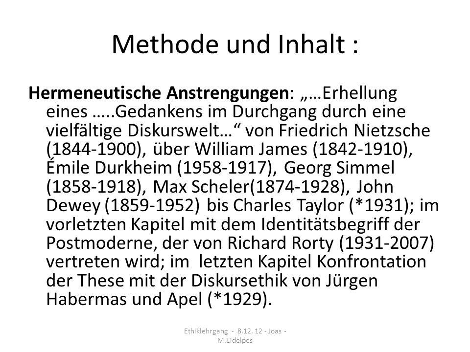 Methode und Inhalt : Hermeneutische Anstrengungen: …Erhellung eines …..Gedankens im Durchgang durch eine vielfältige Diskurswelt… von Friedrich Nietzs