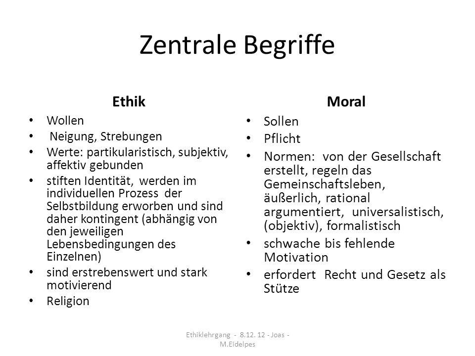 Zentrale Begriffe Ethik Wollen Neigung, Strebungen Werte: partikularistisch, subjektiv, affektiv gebunden stiften Identität, werden im individuellen P