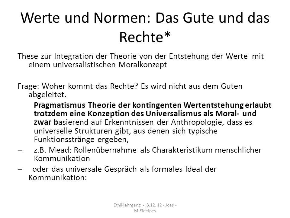 Werte und Normen: Das Gute und das Rechte* These zur Integration der Theorie von der Entstehung der Werte mit einem universalistischen Moralkonzept Fr