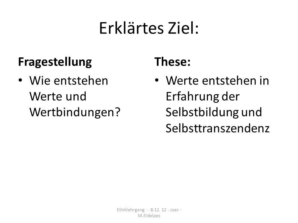 Themen Neuansatz der Wertethik nach Scheler in Auseinandersetzung mit religionssoziologischen Schriften Werte entstehen durch Selbstbildung und Selbsttranszendenz (Taylor).