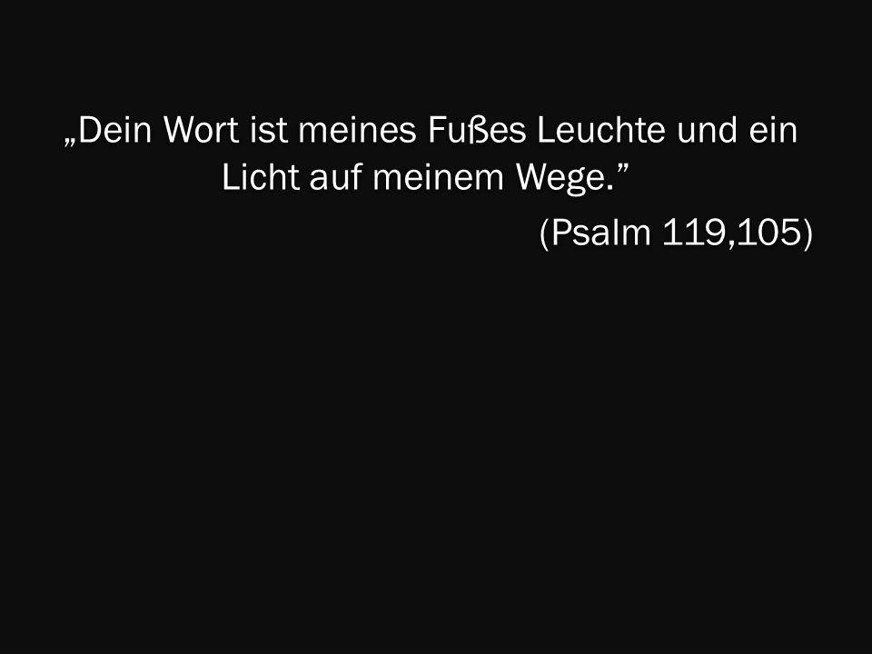 Dein Wort ist meines Fußes Leuchte und ein Licht auf meinem Wege. Dein Wort ist meines Fußes Leuchte und ein Licht auf meinem Wege. (Psalm 119,105)