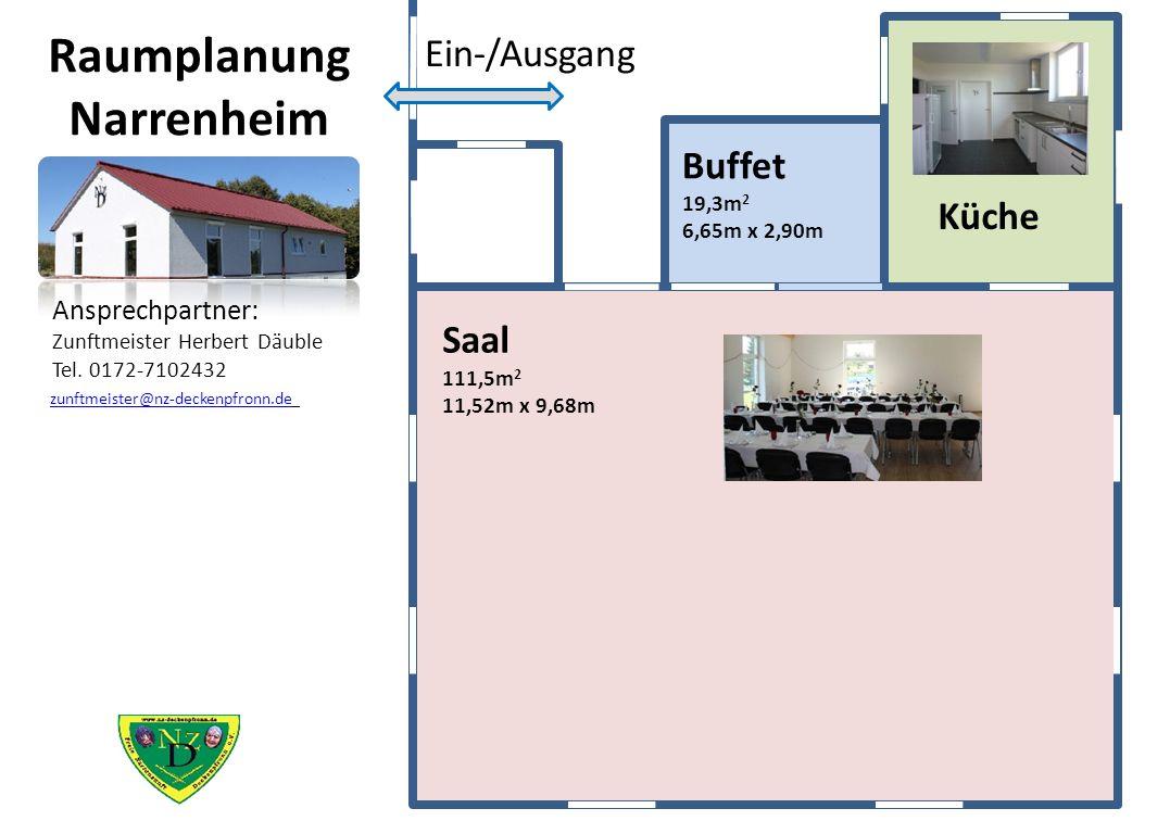 Raumplanung Narrenheim Küche Ein-/Ausgang Buffet 19,3m 2 6,65m x 2,90m Saal 111,5m 2 11,52m x 9,68m Ansprechpartner: Zunftmeister Herbert Däuble Tel.
