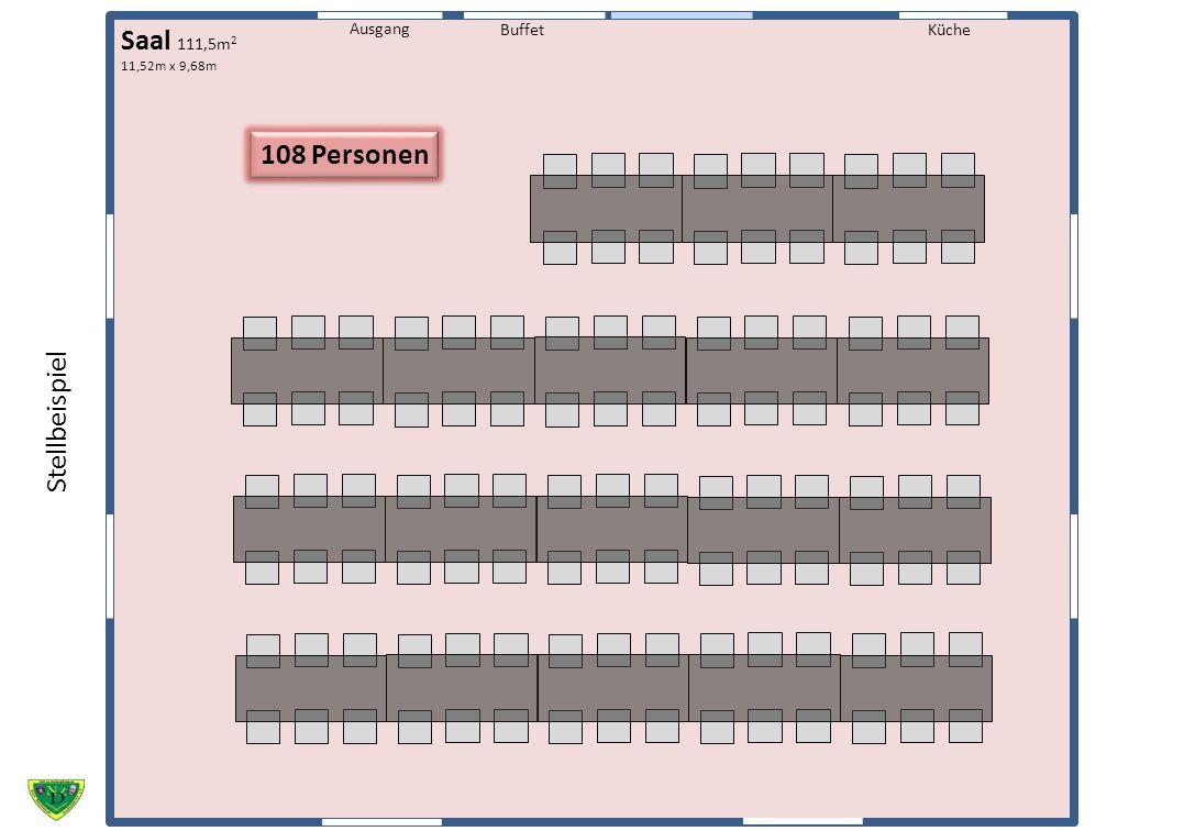 Küche Ausgang Buffet Saal 111,5m 2 11,52m x 9,68m 108 Personen Stellbeispiel
