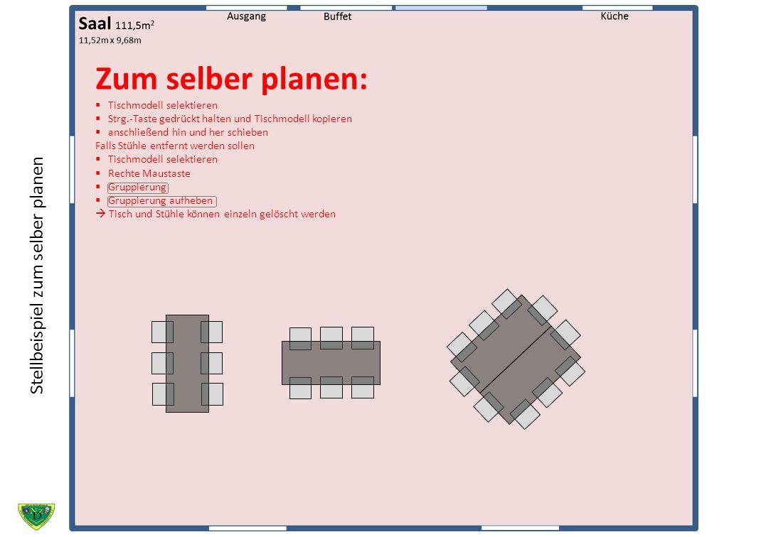 Zum selber planen: Tischmodell selektieren Strg.-Taste gedrückt halten und Tischmodell kopieren anschließend hin und her schieben Falls Stühle entfern