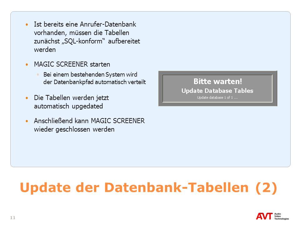 11 Update der Datenbank-Tabellen (2) Ist bereits eine Anrufer-Datenbank vorhanden, müssen die Tabellen zunächst SQL-konform aufbereitet werden MAGIC S