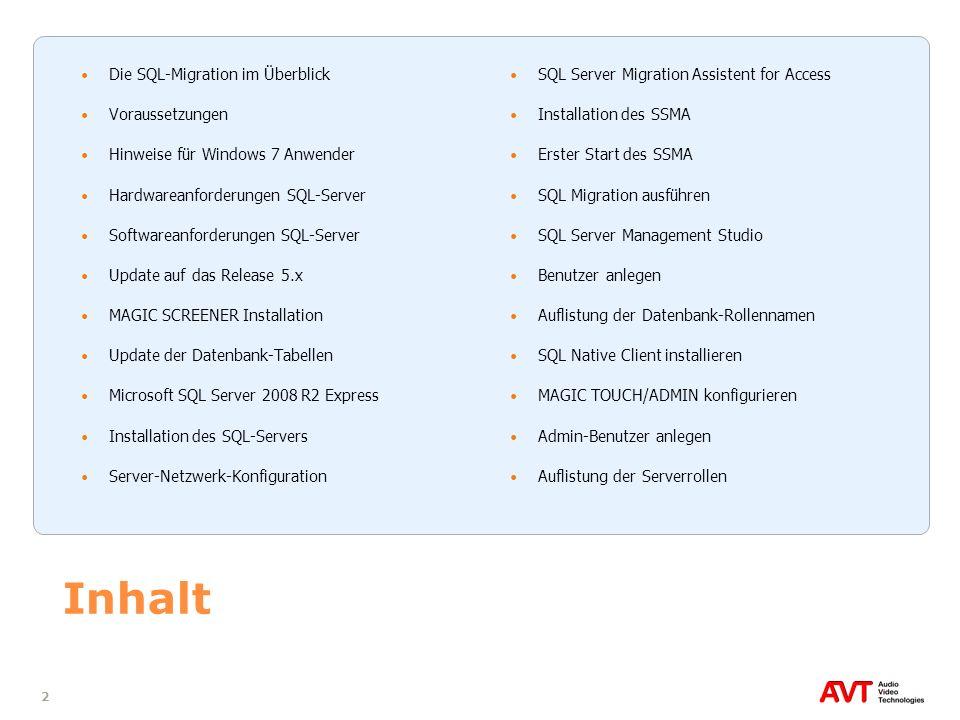 33 Installation des SSMA (1) SQL Server Migrations Assistent (SSMA) installieren DVD-Verzeichnis \Software\SQL Tools\SSMA for Access SSMA 2008 for Access.4.0.Install.exe ausführen Falls Fehlermeldung Required Component Missed erscheint, Installation mit Cancel abbrechen und im DVD-Verzeichnis \Software\SQL Tools\Access Database Engine die Datei AccessDatabaseEngine.exe ausführen Anschließend erneut die Datei SSMA 2008 for Access.4.0.Install.exe starten