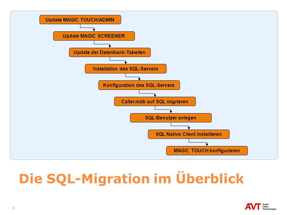 4 Voraussetzungen Bei dem in dieser Anleitung beschriebenen Migrationsverfahren wird davon ausgegangen, dass der Anwender ausreichende Kenntnisse in der Konfiguration der folgenden Software-Pakete besitzt: MAGIC TOUCH oder MAGIC TOUCH ADMIN MAGIC TOUCH LAN MAGIC SCREENER Auf allen Rechnern muss der Anwender administrative Rechte zur Installation der Software besitzen Erfolgt die Migration der Datenbank auf einen bestehenden SQL-Server, muss der Anwender administrative Zugangsrechte für den SQL-Server besitzen Die DVD MAGIC TOUCH/ADMIN Updates with SQL Tools steht zur Verfügung Auf dem Master-Telefonhybridsystem ist die kostenpflichtige Option SQL Extension aktiviert