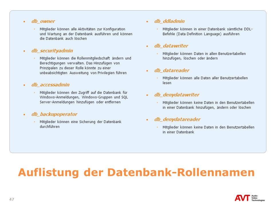 47 Auflistung der Datenbank-Rollennamen db_owner Mitglieder können alle Aktivitäten zur Konfiguration und Wartung an der Datenbank ausführen und könne